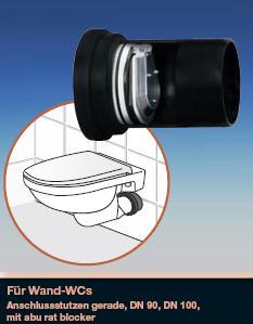 ngh wand wc anschlussgarnitur abu dn 90 pe schweissbar mit rat blocker 759041. Black Bedroom Furniture Sets. Home Design Ideas